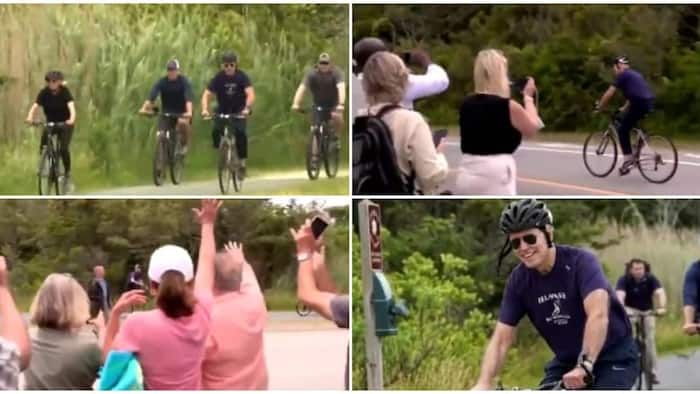 Video captures US President Joe Biden and wife riding bicycles on streets