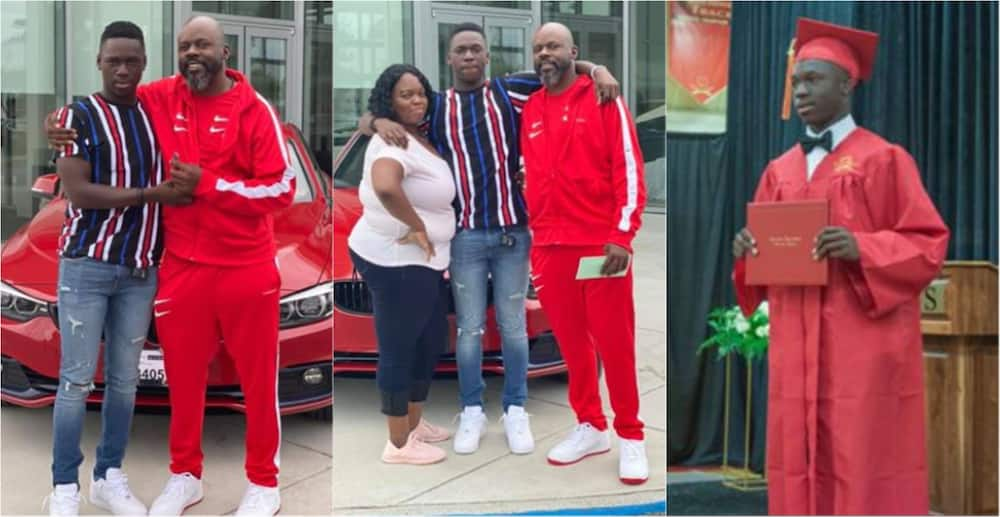Double blessings: Proud dad presents son with luxurious car as b'day and graduation gift in photos
