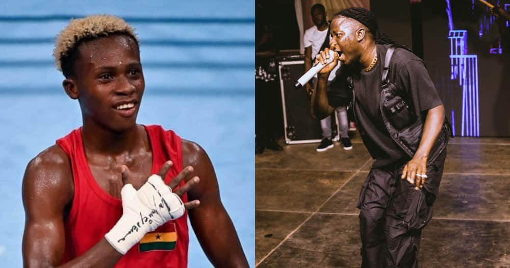 Raggae Dancehall superstar Stonebwoy celebrates Olympic bronze medalist Samuel Takyi