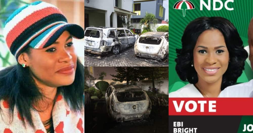 Ebi Bright: Cars of actress and NDC PC for Tema Central reportedly burnt to ashes in her house