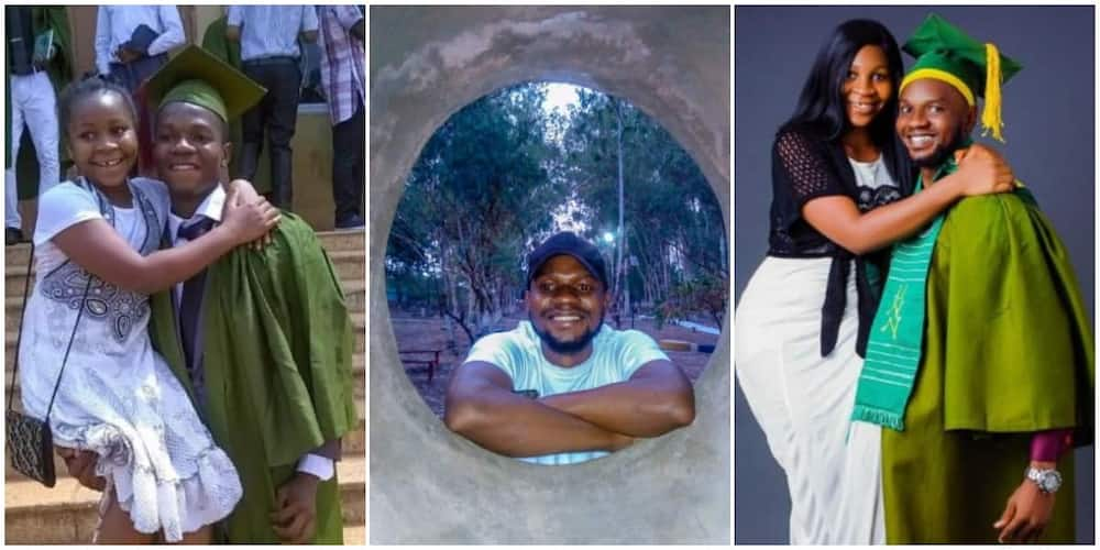 Nigerian man celebrates graduation from school by carrying his sister on one arm to recreate matric photo