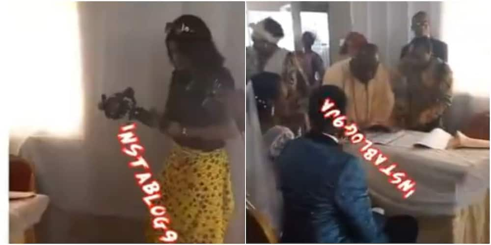 Reactions as Female Videographer Covering Wedding Ceremony in Church Ordered to Tie Wrapper on Her Trousers
