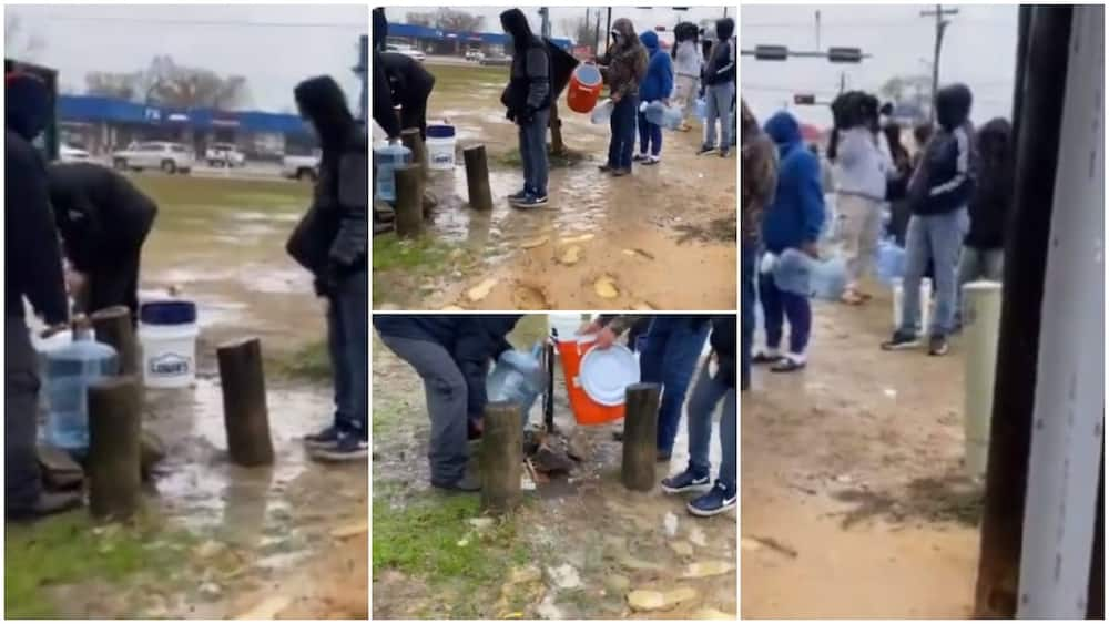 Americans queue to fetch water from borehole in viral video amid power outage, Nigerians react