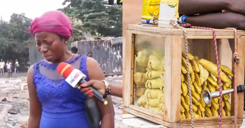 Meat pie hawker who lost all her money & goods in Shiashie fire weeps in video