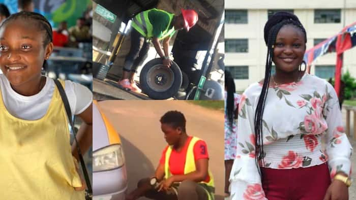 Meet the pretty 22-year-old UEW student who works as vulcanizer to fend for herself