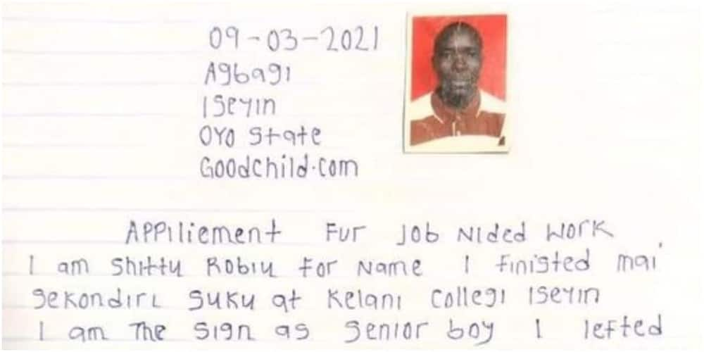 Man from Oyo state causes stir on social media with application letter filled with bad English