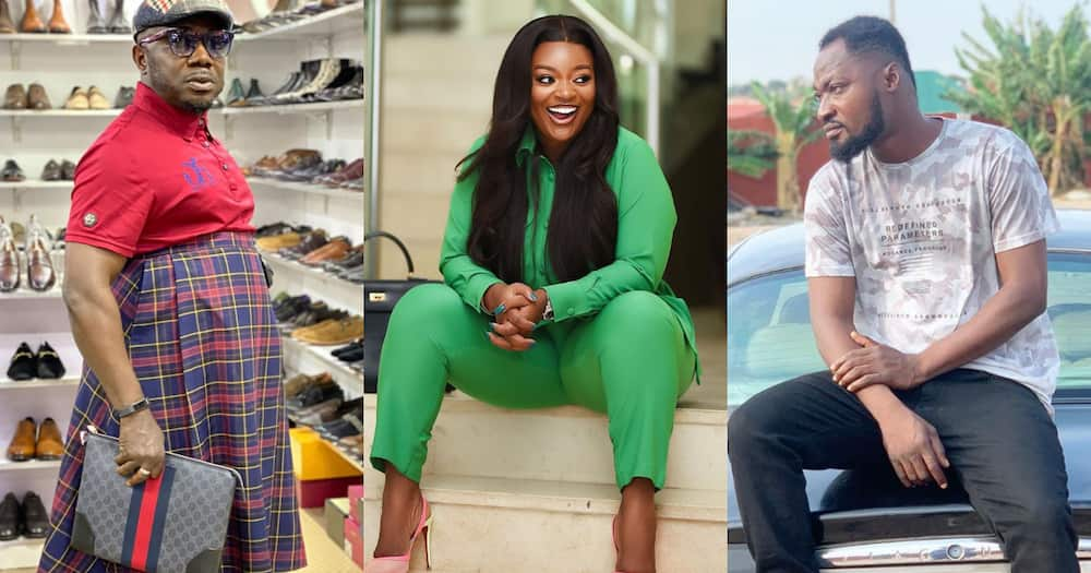 Jackie Appiah laughs at Osebo and Funny Face for fighting over her