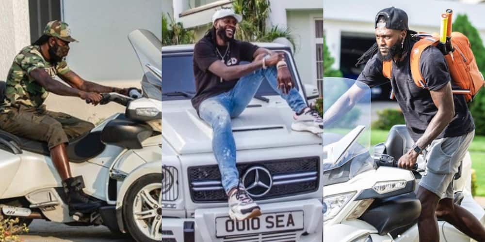 PHOTOS: Emmanuel Adebayor flaunts his 'mighty' latest sports car in his huge mansion in photo