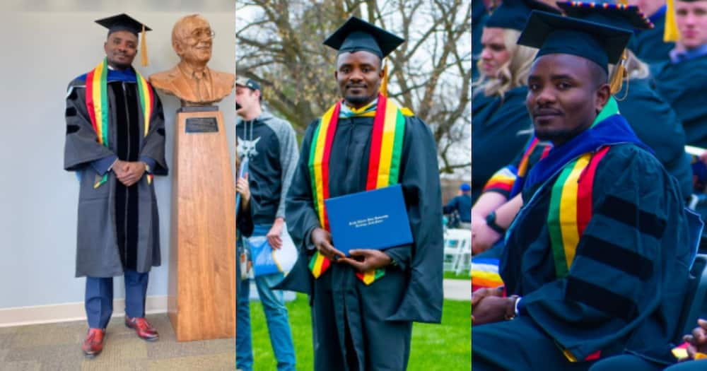 Samuel Adjei: Ghanaian celebrates as he earns master's degree and PhD from top US university