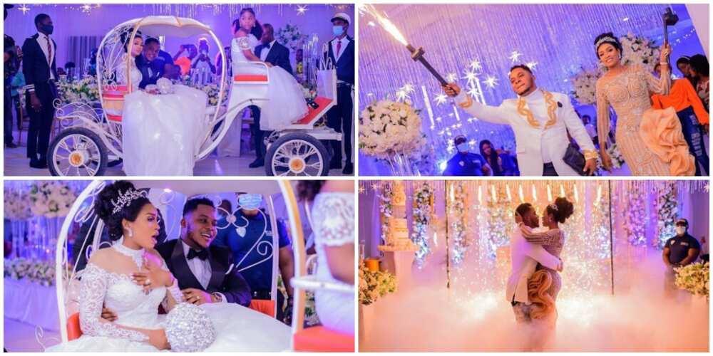 Nigerian Bride and Groom Make Majestic Entrance to Their Wedding Venue, Photos Cause Stir
