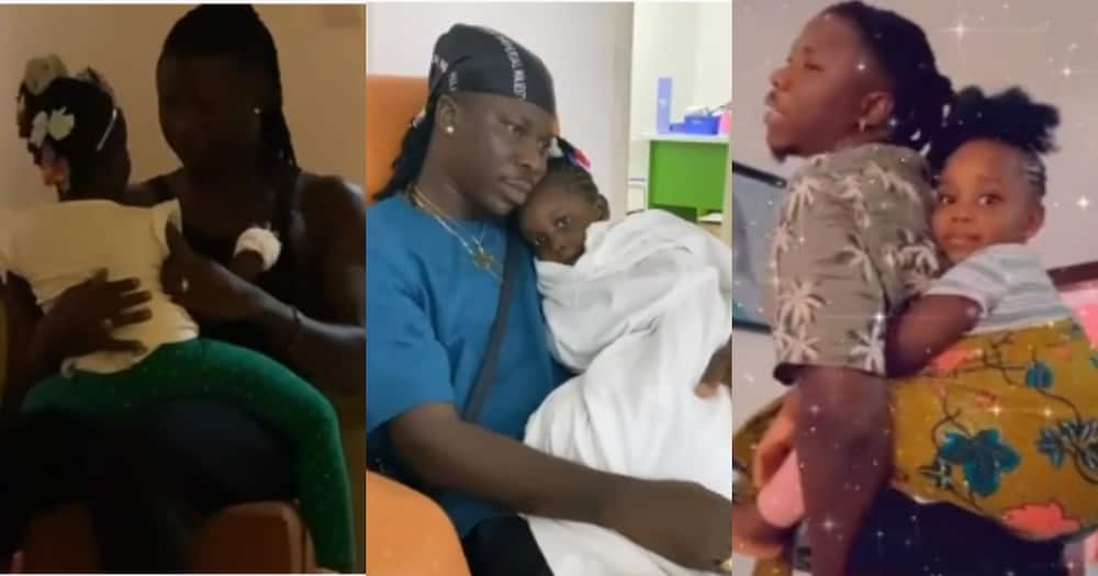Video of sad-Looking Stonebwoy Carrying Daughter Jidula when she was not well Surfaces
