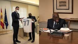 Akufo-Addo receives a customised Real Madrid jersey as he celebrates 77th birthday in Spain; photos drop