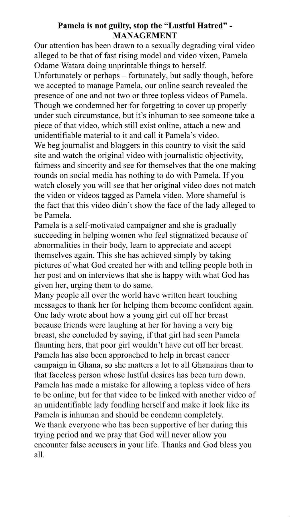 Pamela Watara denies being in recently leaked explicit video