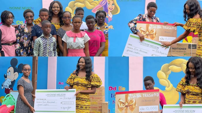 Yvonne Nelson GHC40k to 3 brilliant girls who won essay competition (video)
