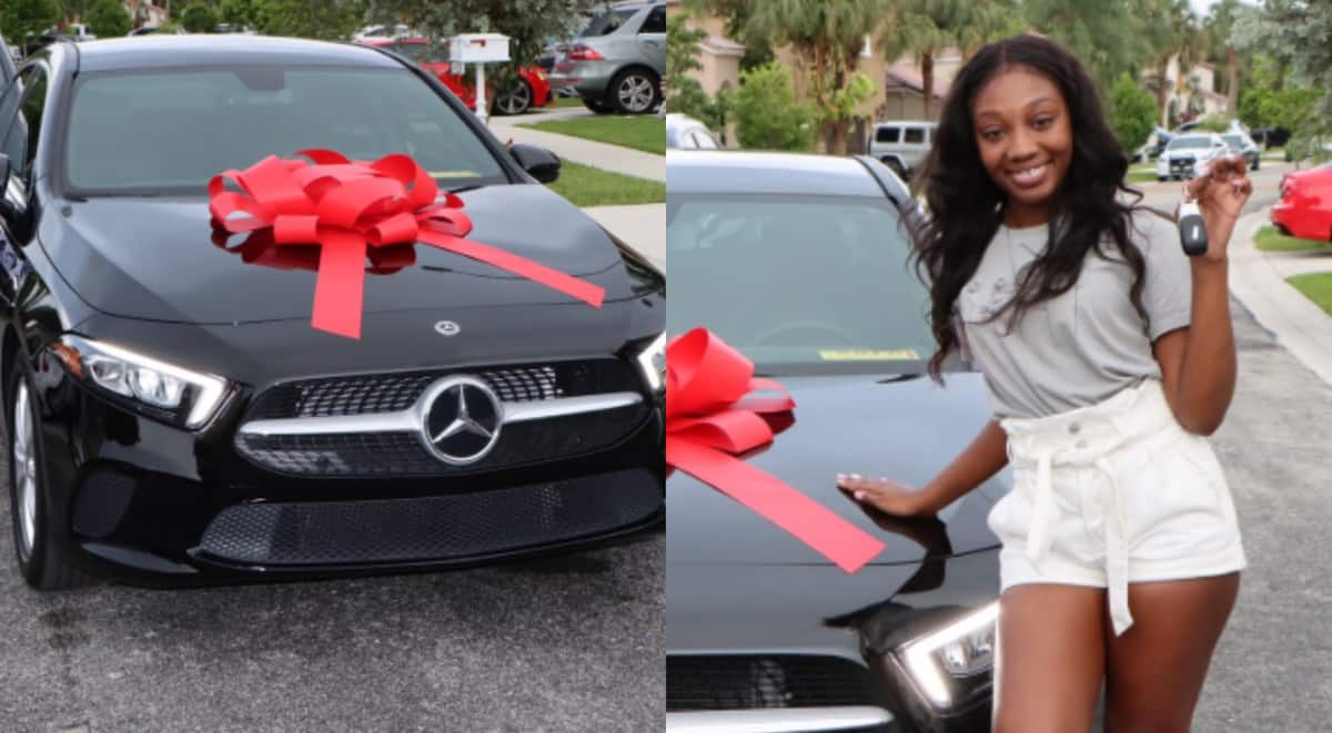 Pretty lady celebrates after she received posh BMW from mom as graduation gift; drops cute photos