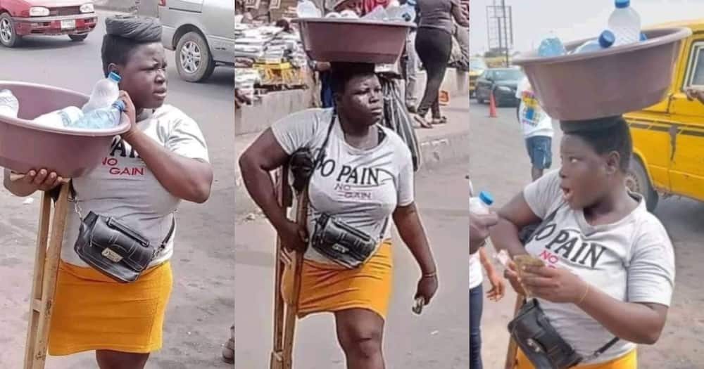 Daring hustler: Physically impaired girl in crutches sells pure water on street