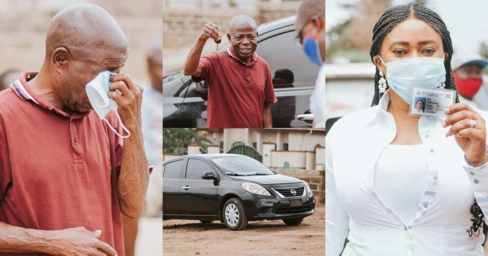 Adwoa Safo gifts Nissan Versa car to NPP man at Dome Kwabenya