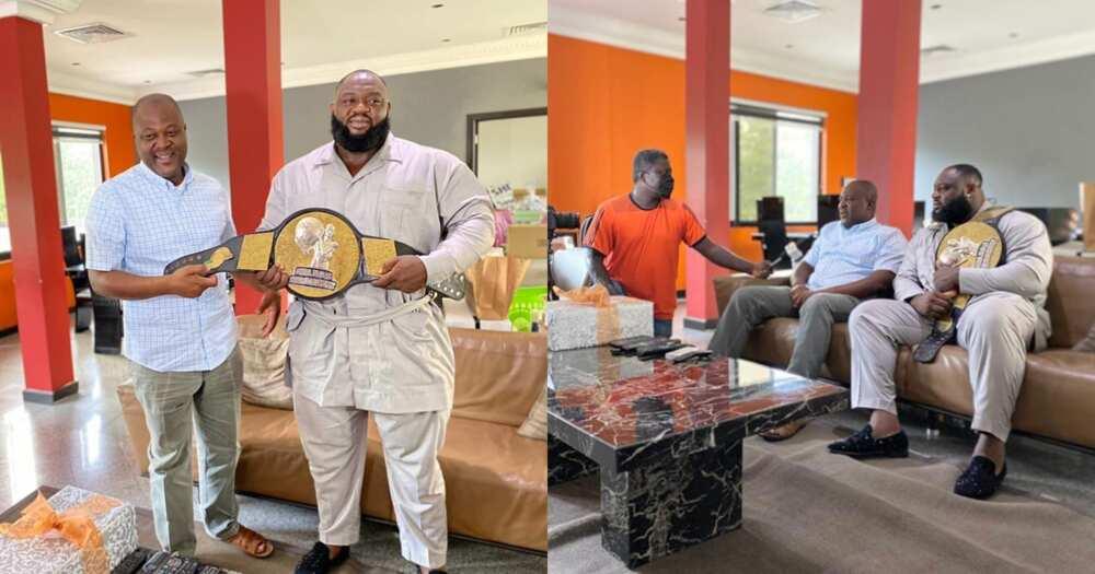 Shaka Zulu Meets Ibrahim Mahama: Ghana's Strongest Winner Presents Title To Business Mogul (Photos)