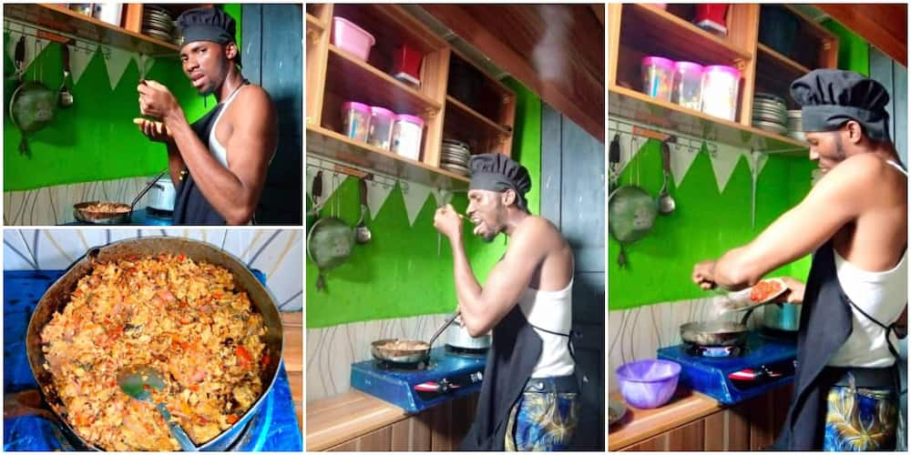 Ladies react as Nigerian man promises to be maid to his future wife, shows off his cooking