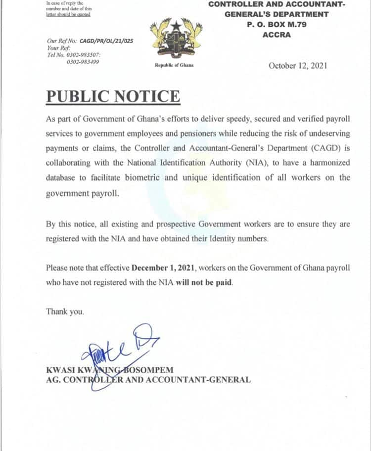 Government workers without Ghana cards will not be receiving salaries starting December 1