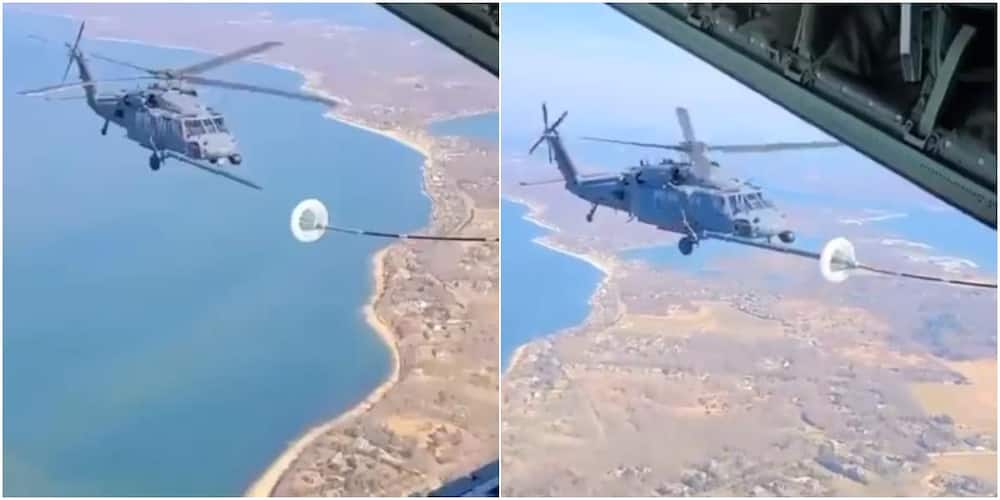 Video of Helicopter Refuelling in Midair Sparks Huge Reactions on social Media, Many are Not Impressed
