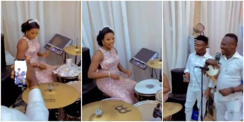 Talented Bride Takes over Drums from Band at Her Wedding Reception, Nigerians React