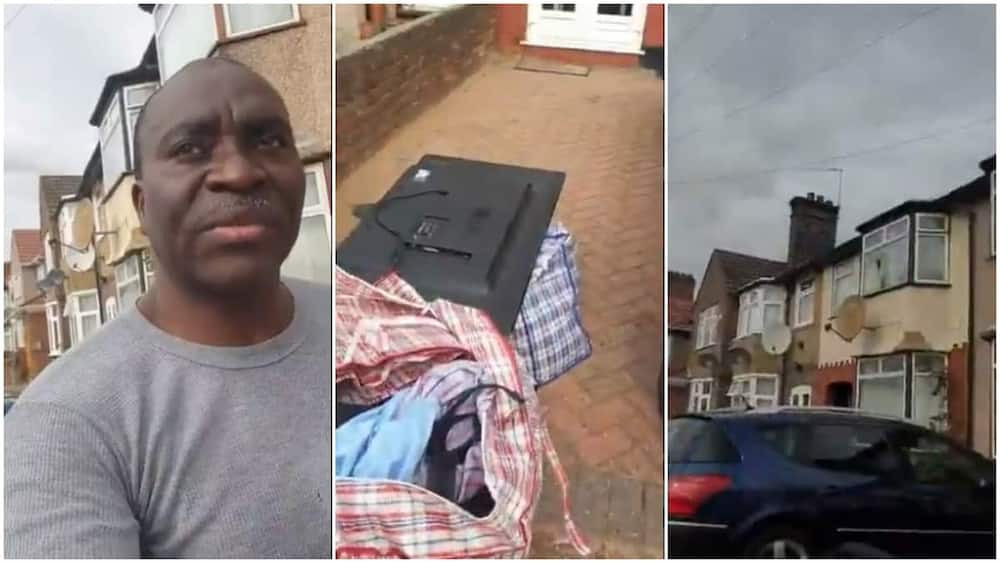 Oyinbo wife in UK throws Nigerian husband out with his bags, clothes, videos goes viral