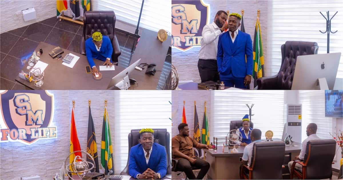 Shatta Wale shows off his lavish new office in latest photos; Medikal, Mzbel shout