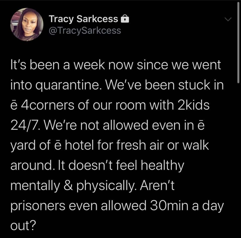 Tracy Sarkcess cries out over poor treatment meted out to them in mandatory quarantine