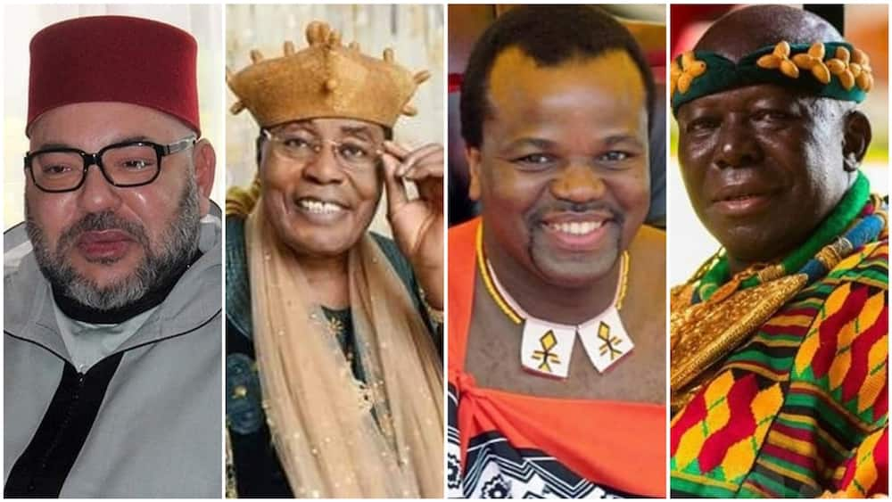 A collage of King Mohammed, Frederick, Mswati, and Osei. Photos sources: Moroccan Times/GhanaWeb/DailyPost