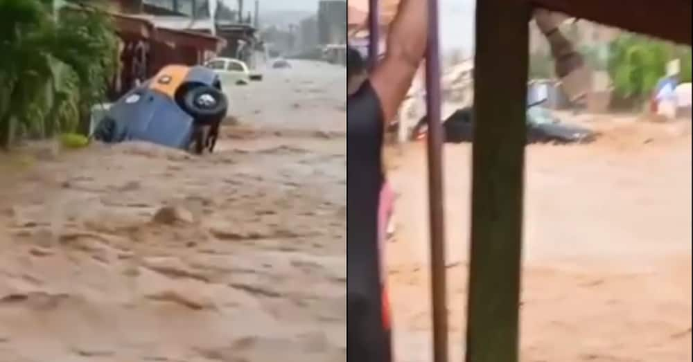 Live video of taxi with passengers overturned with floodwater in Accra