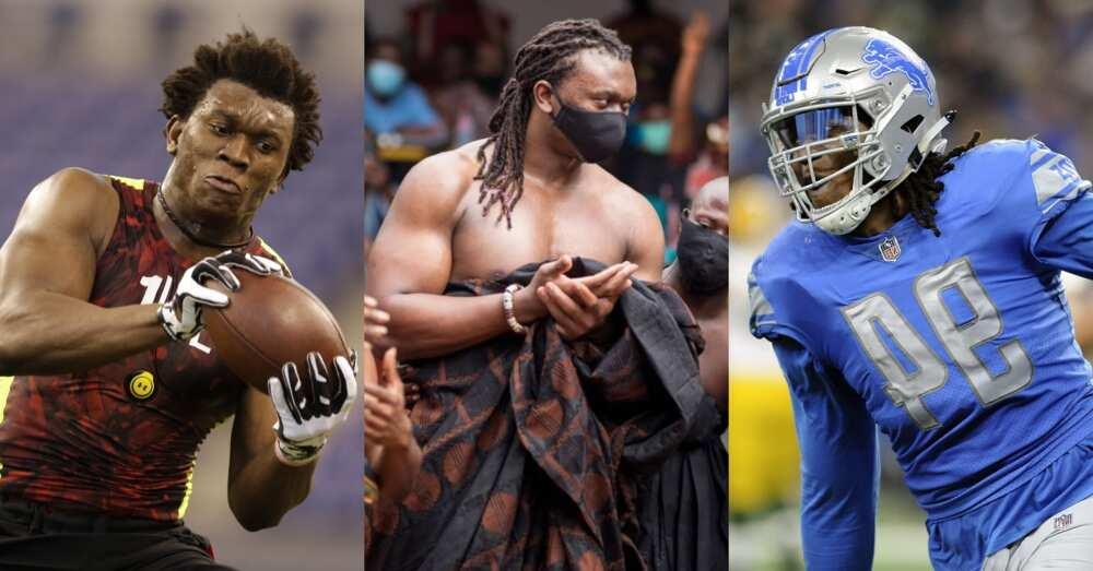 Powerful photos drop as Ghanaian NFL star Ziggy Ansah gets made 'King of Giants' in E/R
