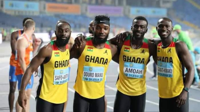 Ghanaian sprinters react after final race at the Tokyo Olympics