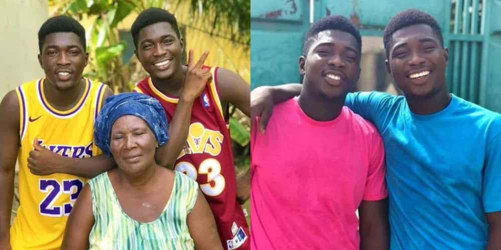 Mama has suffered a lot - Handsome Ghanaian twin brothers celebrate mum with 'sweet' photos