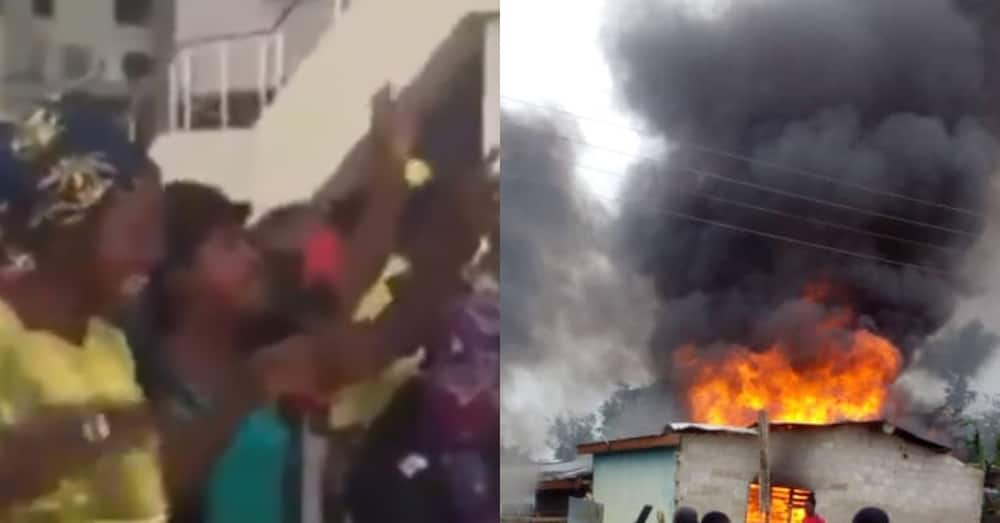 Video of prayer warriors blowing tongues over burning building heats up reactions