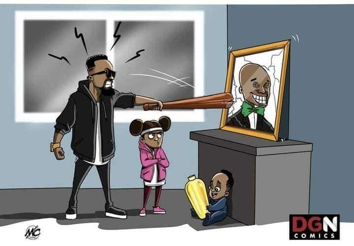 Funny cartoon of Sarkodie and Titi smashing Dr. UN's face drops