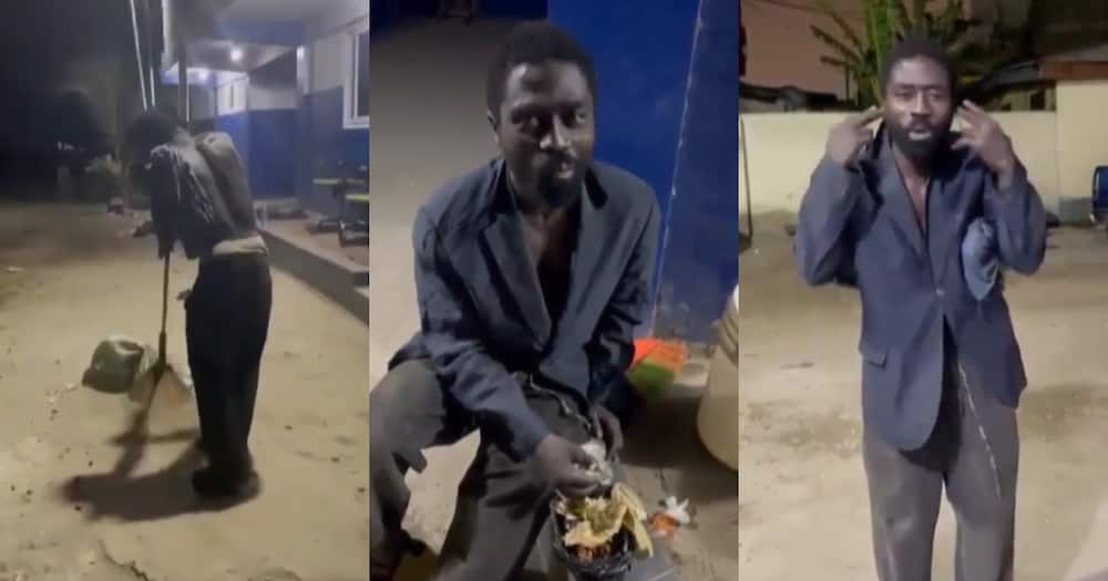 Thief caught stealing from police station; made to sweep, sing and given kenkey in video
