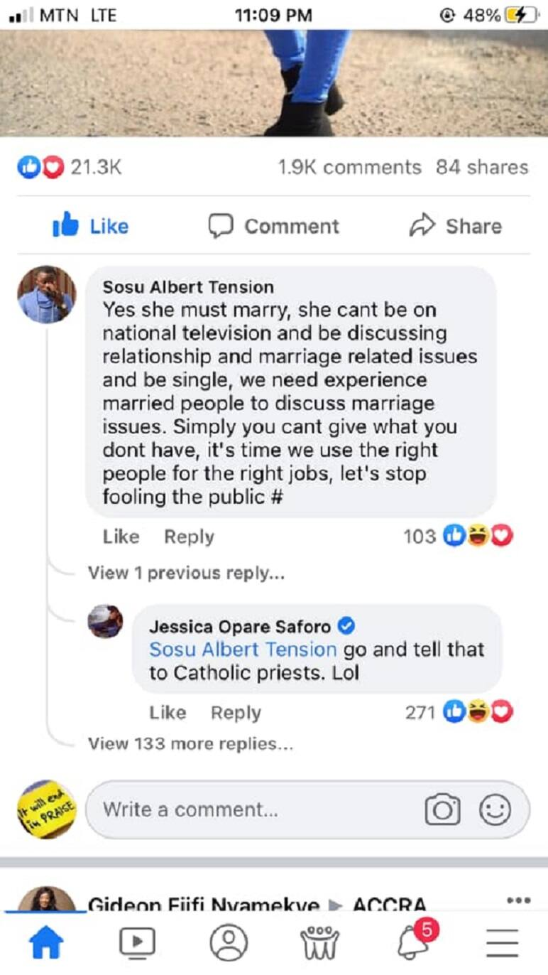 Jessica Opare: Sister-Sister show host Replies fan who said she can't give love Advice as a Single lady