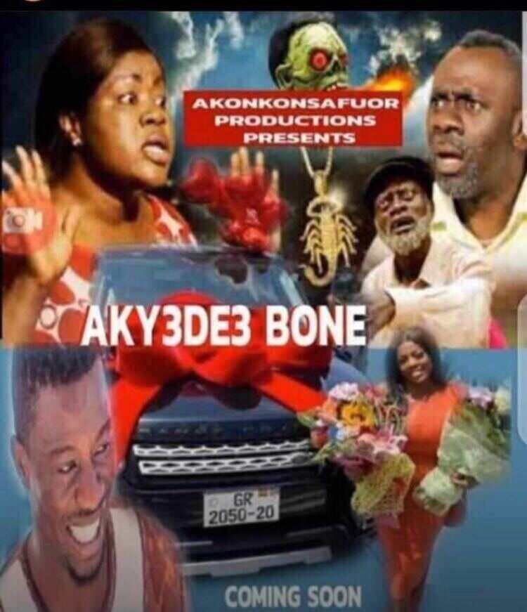 Akyedie Bone: Kumawood movie poster of Nana Aba Anamoah's fake Range Rover saga drops (Photo)