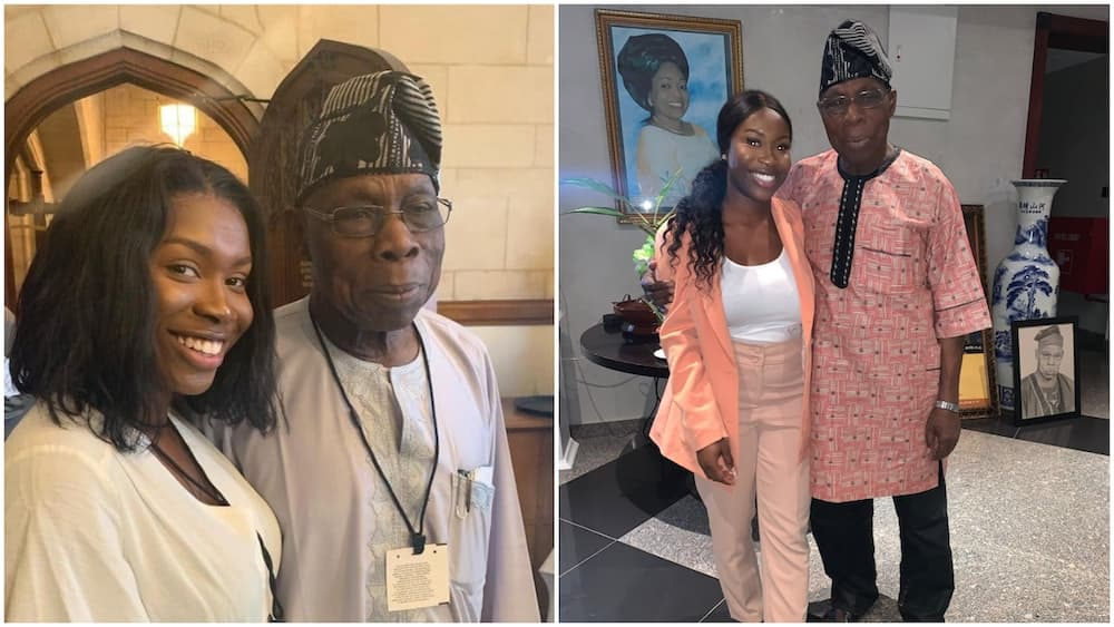 A collage of the lady with Obasanjo. Photo source: Twitter/Aminat Sule