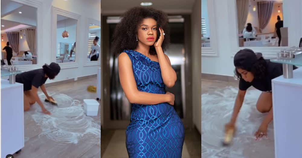 Becca: Singer Captured Scrubbing her Office by Herself in Video; Ghanaians hail her