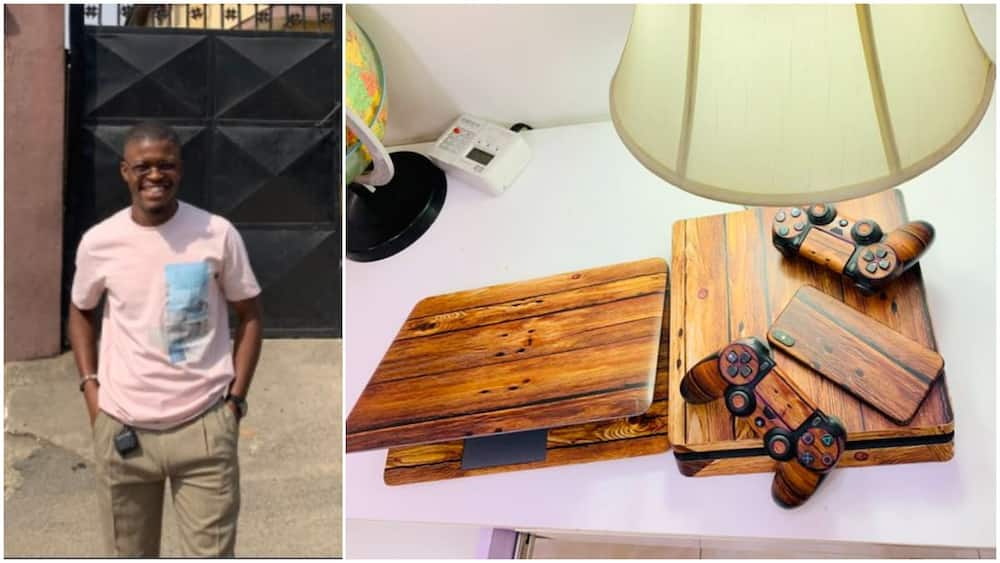 This man transforms his laptop, phone, gampads to look like woods, Nigerians react (photos)