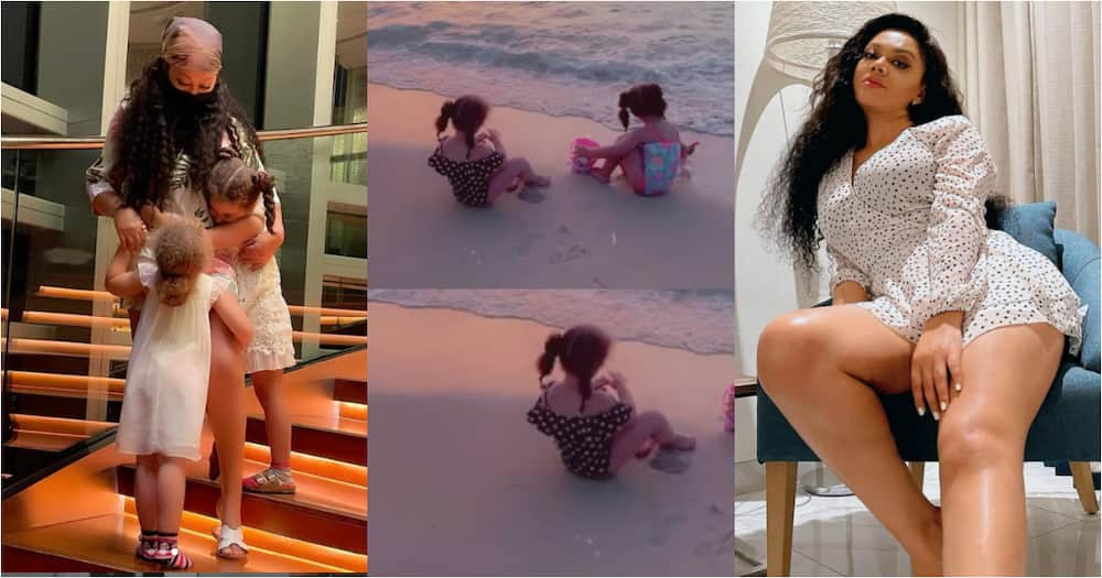 Nadia Buari shares rare video of her twin girls at the beach, fans say it's beautiful