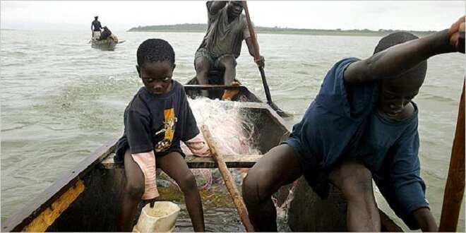 children on the the Volta Lake