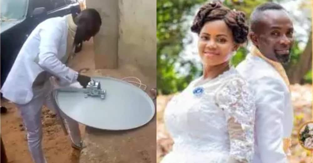 Ghanaian groom keeps wife waiting in church & goes to fix DStv for customer