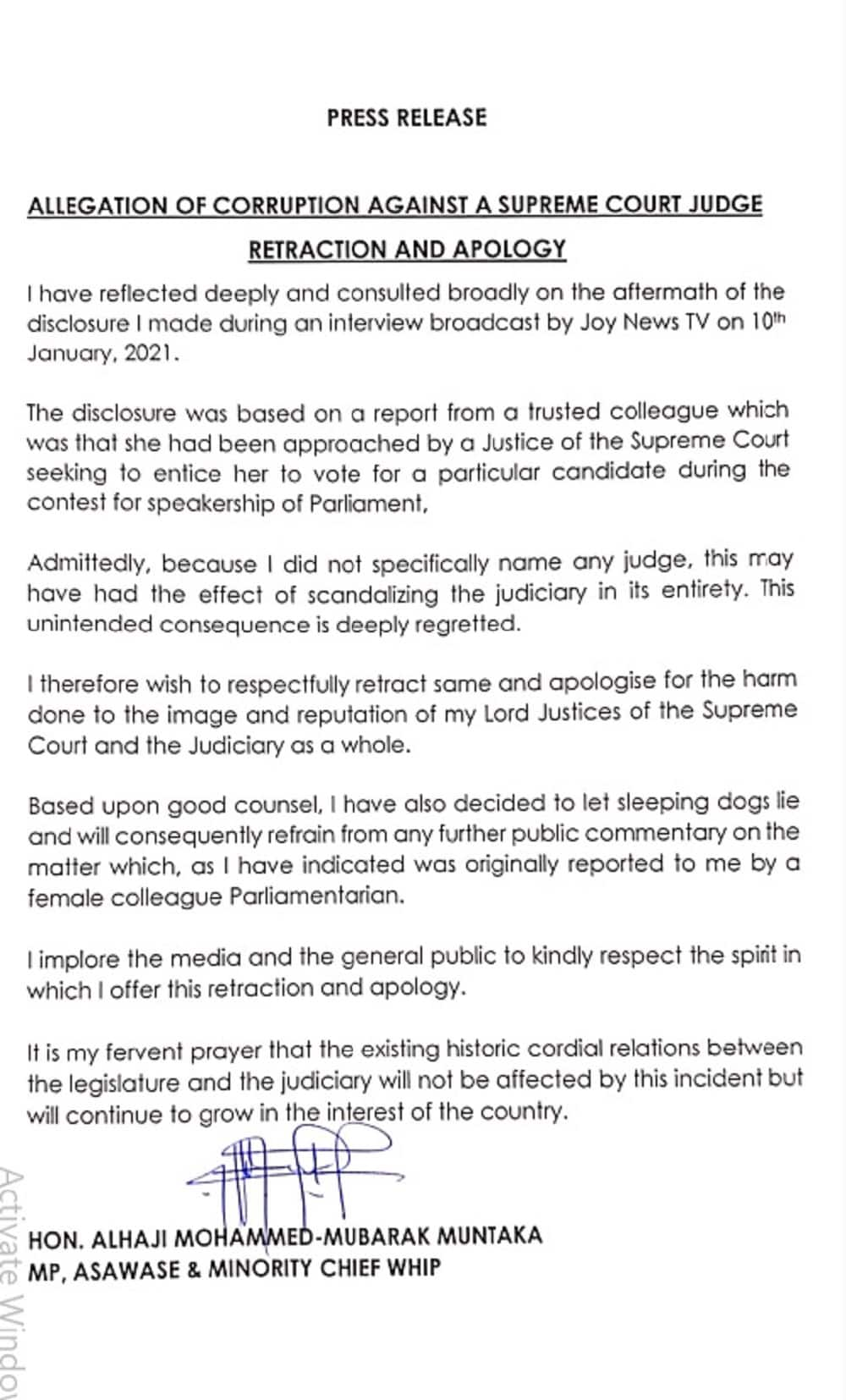 Muntaka Mubarak apologizes to Supreme Court over bribery claims