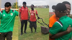 Mark of humility - New Kotoko coach Prosper Odum interacts with groundsman