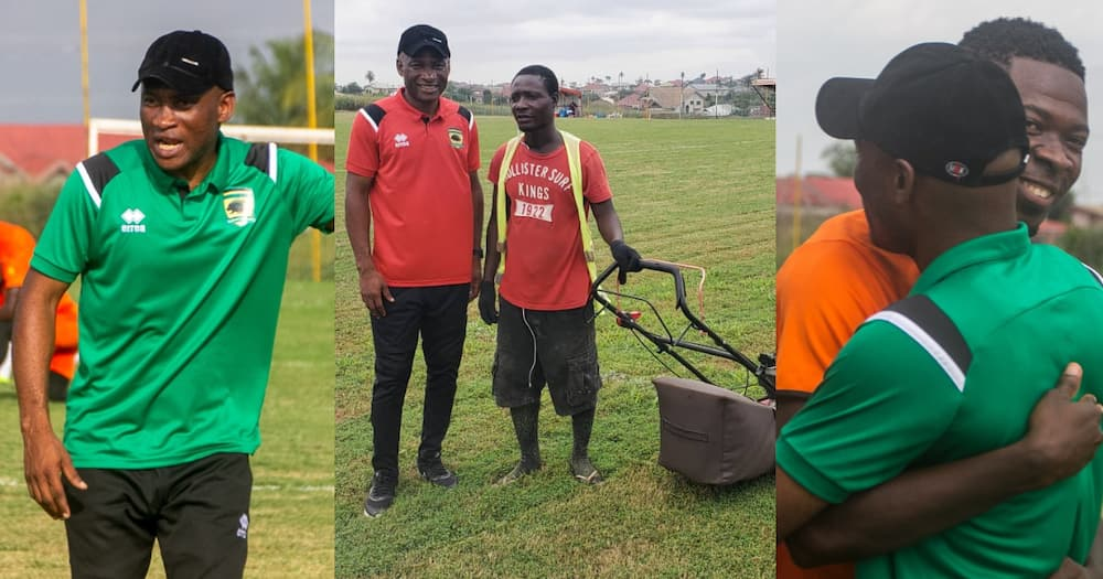 Mark of humility - New Kotoko coach Prosper Odum chats with groundsman