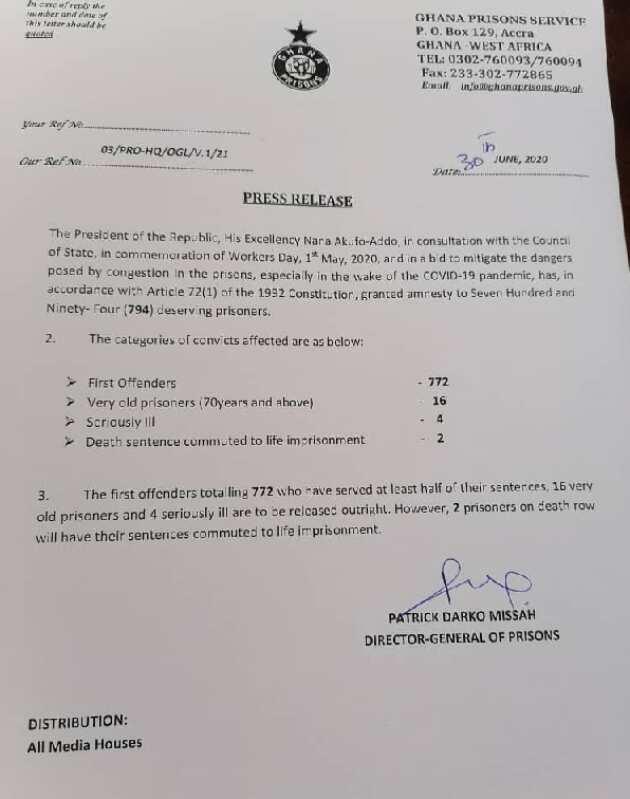 Nana Addo grants 794 prisoners amnesty