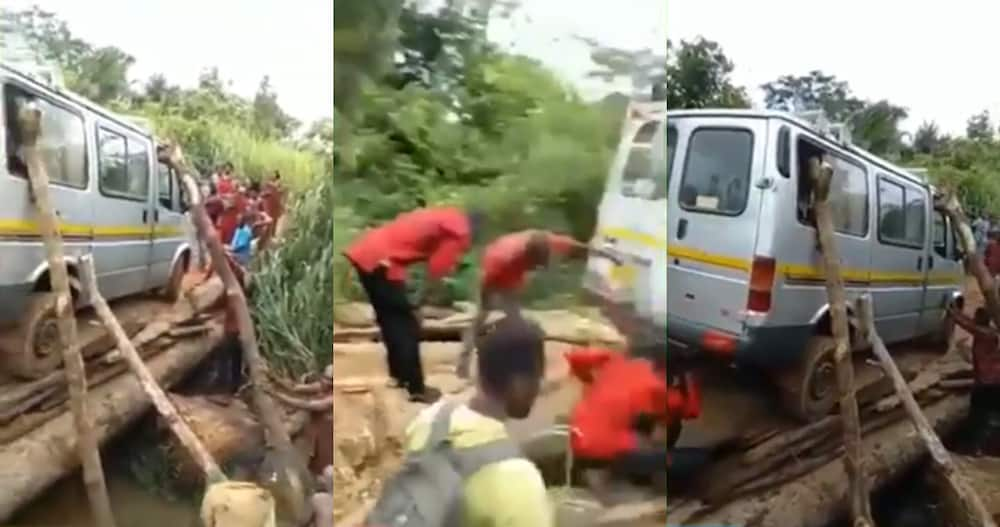 Video of trotro being supported by timber to cross weak wooden bridge stirs reactions